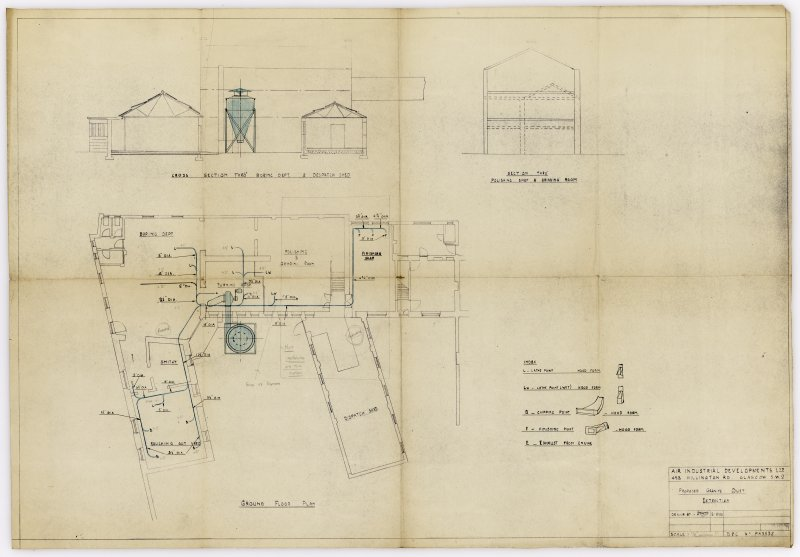 Copy of annotated mechanical copy, plan, section, 'Proposed Granite Dust Extraction' on block ayout of Roughing out Shop, Smithy, Boring Department (now Giftware), Turning Shop (now Saw and Shot Blast area), Polishing (now Storage and Lathe area) and Grinding Room (now rear of Main Workshop), Finishing Shop (disused) and Dispatch Shed. Survey of Private Collection