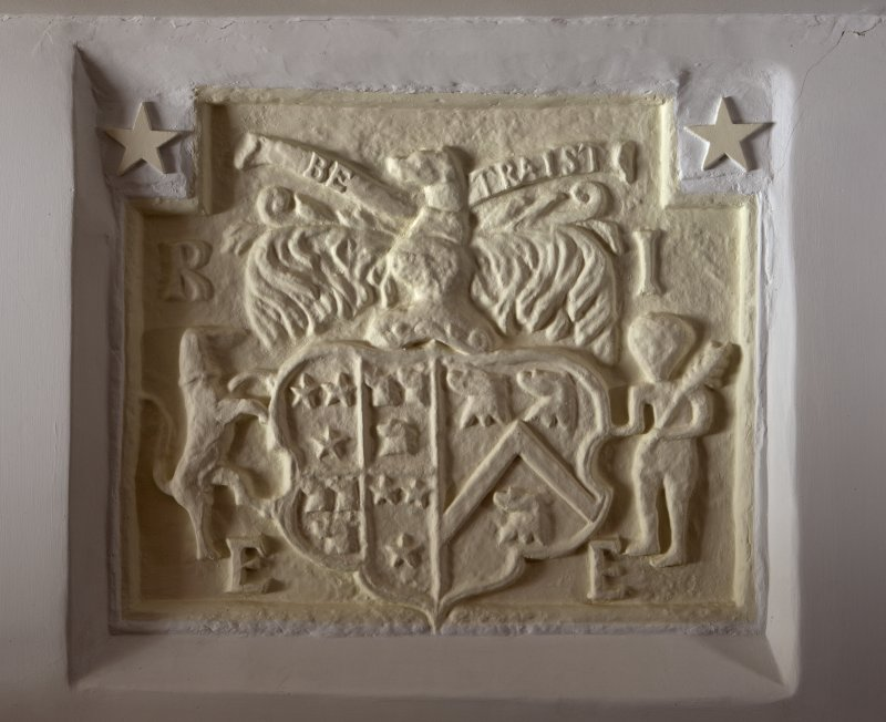 Ground floor. East wing. Sitting room. Detail of armorial panel