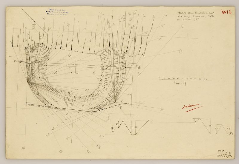 RCAHMS Marginal Land Survey pencil plane table plan and profile,