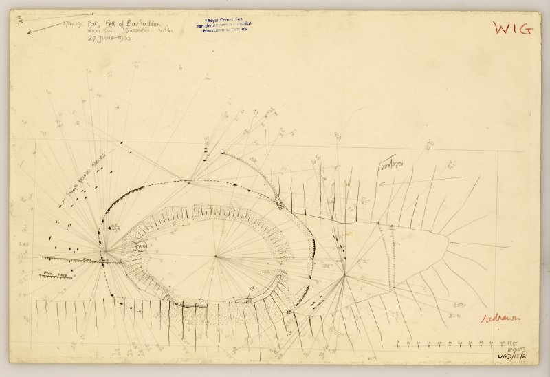 RCAHMS Marginal Land Survey pencil plane table survey drawing,
