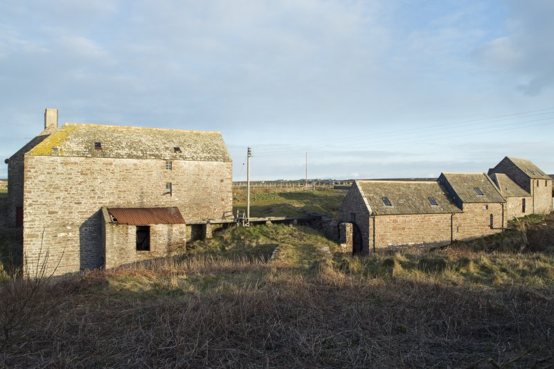 View of the west elevations of the mill and stable buildings.
