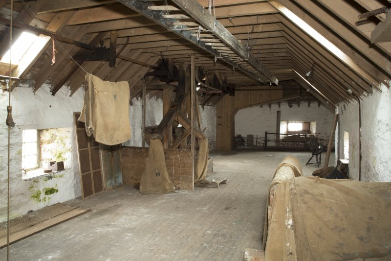 Interior. View looking north along second (top) floor of mill building.