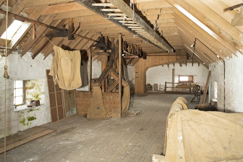 Interior. View looking north along second (top) floor of the mill building.