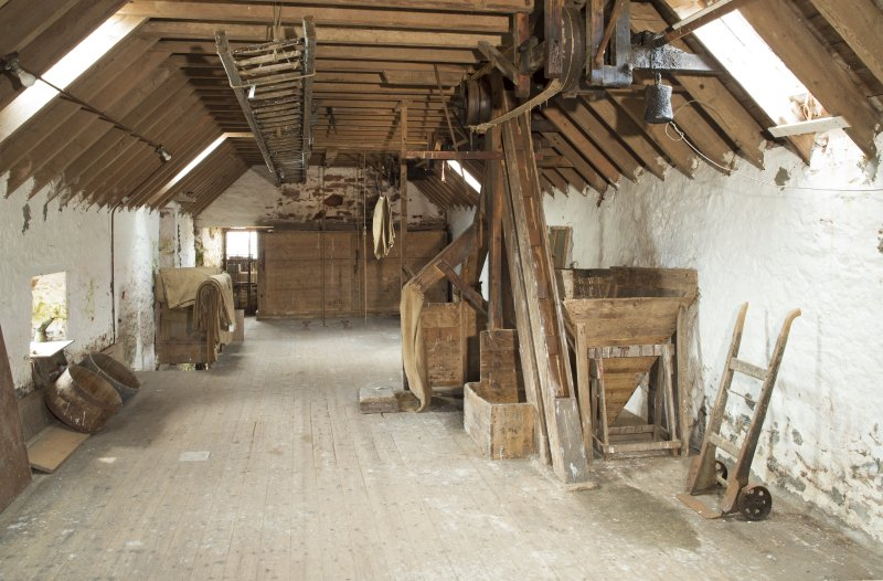 Interior. General view looking south along the second floor of the mill building.