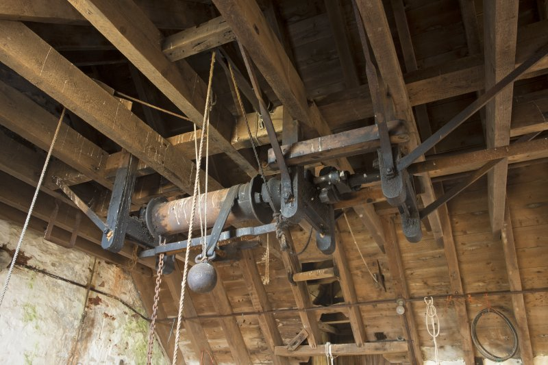 Interior. View of sack hoisting mechanism within the north-east of the mill at second floor.