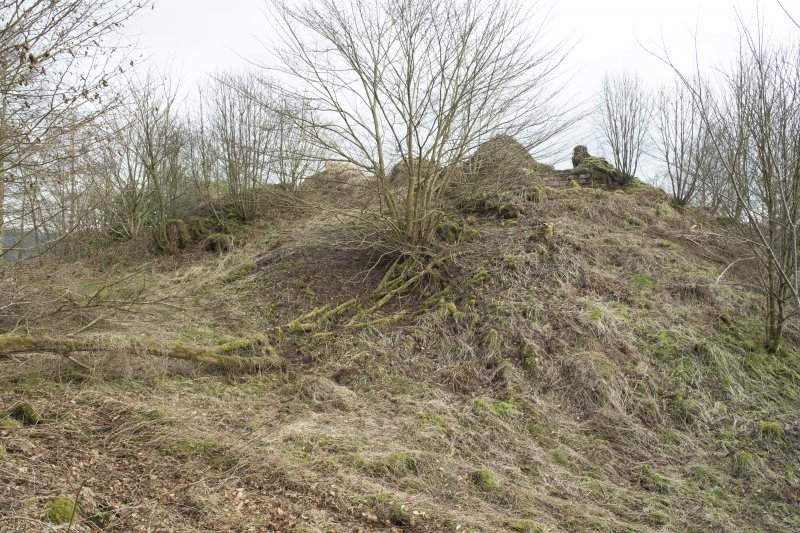 castle mound or motte from great ditch, view from south