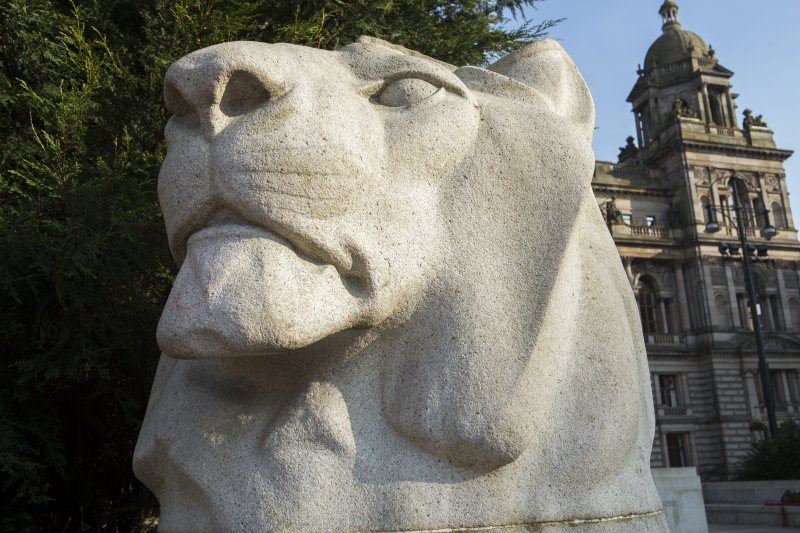 Detail of lion head at north end of the Cenotaph.