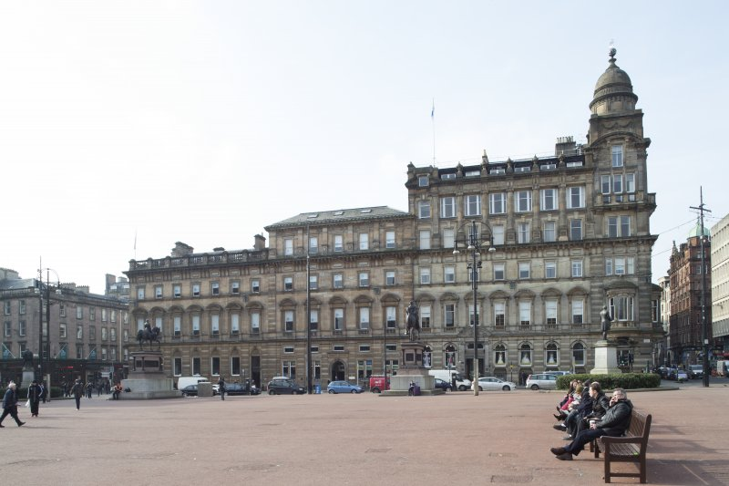 General view of the west end of George Square looking between the statutes of Queen Victoria and Prince Albert.