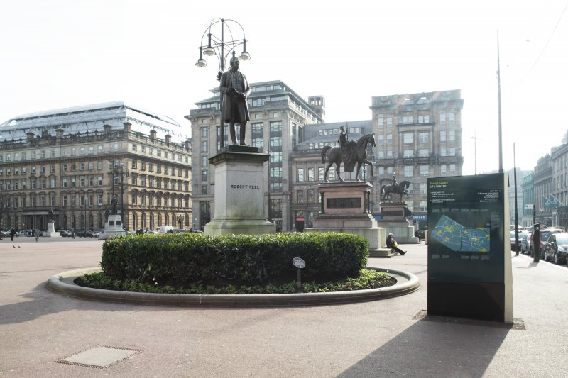General view of the west end of George Square looking along the statutes of Queen Victoria, Prince Albert and James Watt taken from the north.