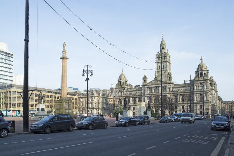 General view of the south side of George Square with the City Chambers in the background taken from the south west.