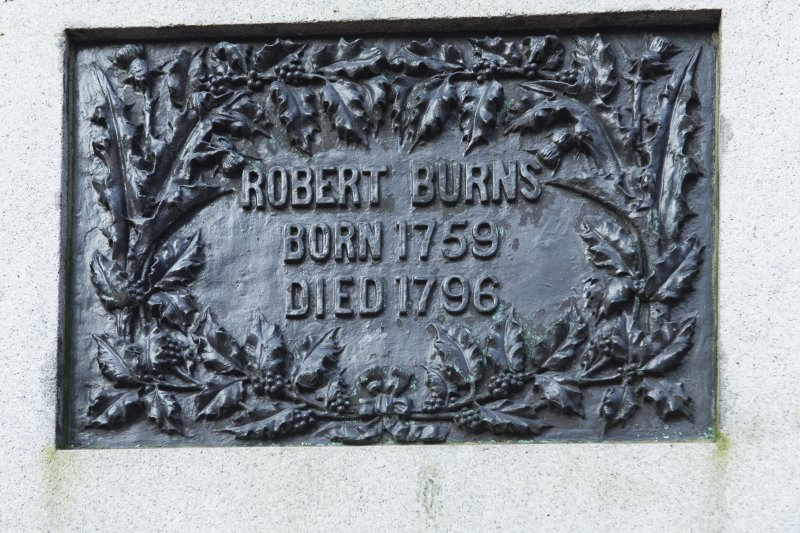 Detail of south facing plaque the statue of Robert Burns.