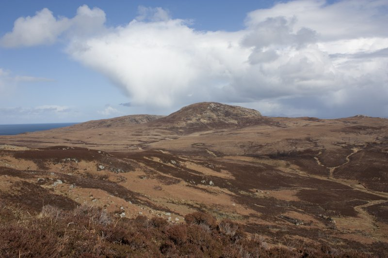 General view towards Beinn Ghot. The cairn lies on the lower slopes of the hill.