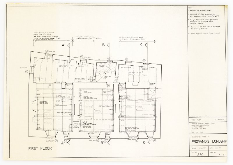 Provand's Lordship and 8 Macleod Street First floor plan showing proposed works Titled: 'First floor as proposed  Restoration work to Provand's Lordship  Job No 869'  'Walter Ramsay FRIBA FRIAS  Chartered Architects, 11 Park Circus, Glasgow, G3 6AX'