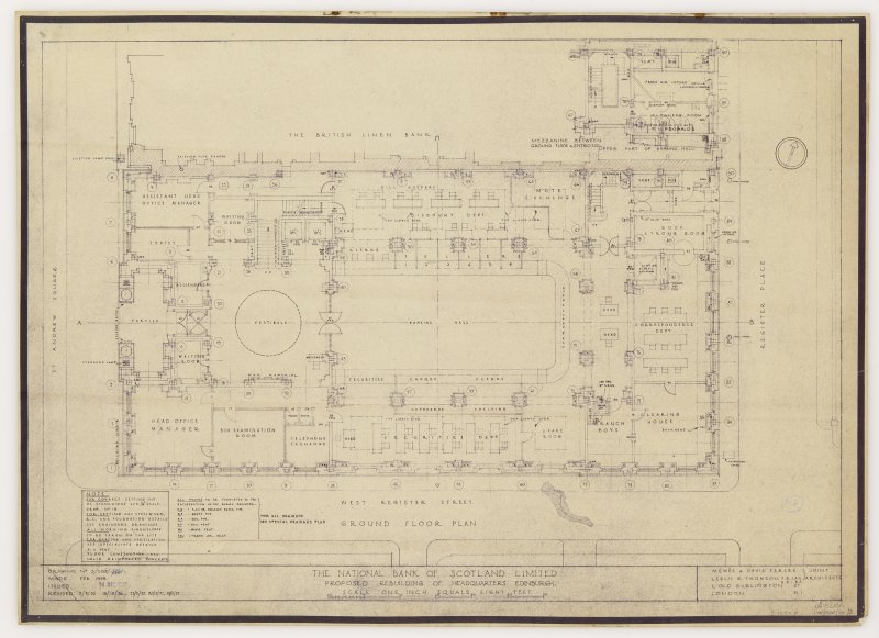 Edinburgh, 42 St Andrew Square, Royal Bank of Scotland. Ground floor plan. Title: 'The National Bank of Scotland Limited. Proposed Rebuiling of Headquarters Edinburgh.' Insc: 'Mewes & Davis FFRIBA Leslie G. Thomson ARIBA, FRIAS Joint Architects. 1 Old Burlington Street London W.1.'  'Issued 14 DEC 1937'.