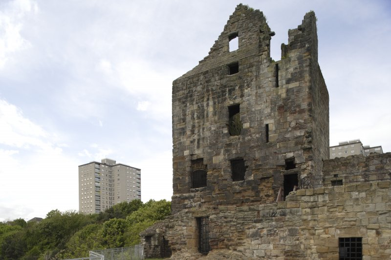 General view of West tower with Ravenscraig flats in background, from South East.