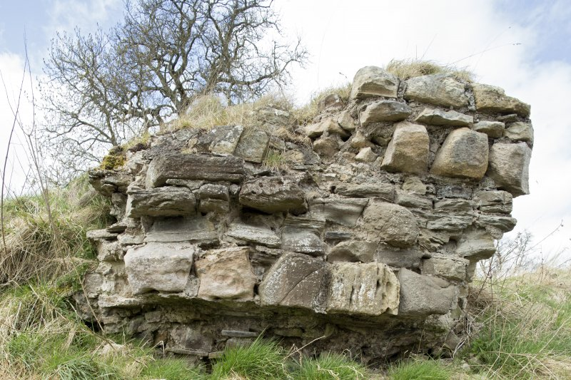 Isolated block of masonry from the Teviotside curtain wall of Roxburgh castle NE of the main length of wall, from the SE
