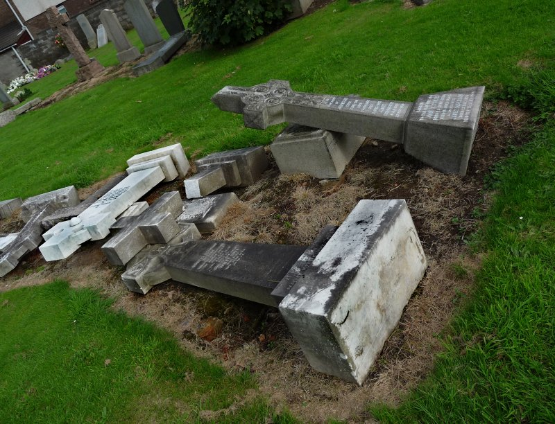 Image showing a pile of gravestones, all overturned, Morningside Cemtery, Edinburgh