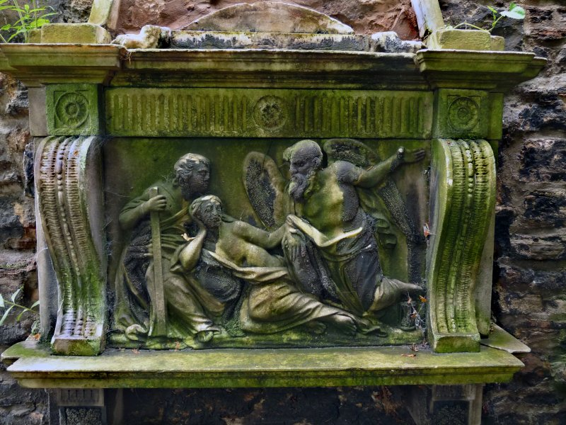 Detail of relief on wall monument, Old Carlton Burial Ground, Edinburgh.