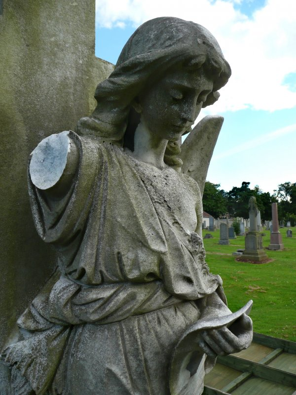 Image showing statue of angel, damaged with arms missing, Morningside Cemetery, Edinburgh.