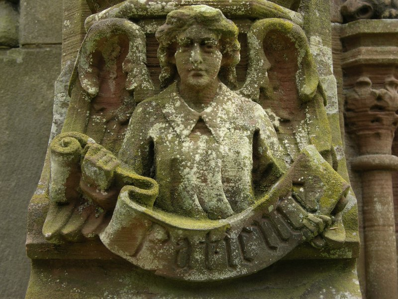 Detail of a relief showing an angel with scroll inscribed 'patience', Roslin Chapel, Roslin, Midlothian.