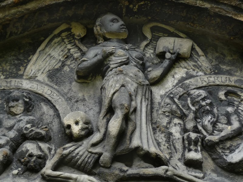Detail of relief showing an angel and cherubs, Greyfriar's Churchyard, Edinburgh.