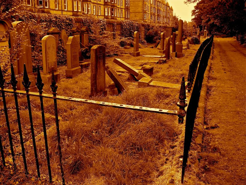View of Jewish Burial plots. Located directly south of the main gate, Newington Cemetery, Edinburgh.
