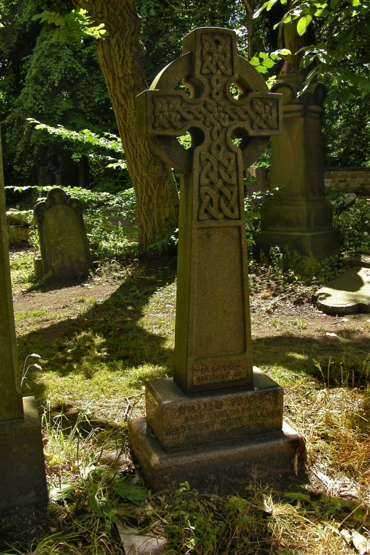 View of gravestone in memory of William Fraser in style of Celtic Cross, Newington Cemetery, Edinburgh.