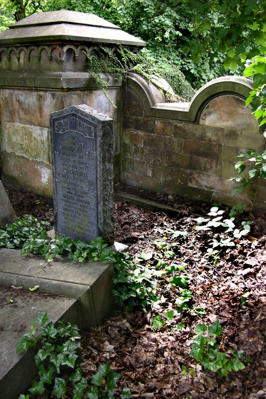 View of gravestone from catacomb terrace, Newington Cemetery, Edinburgh.