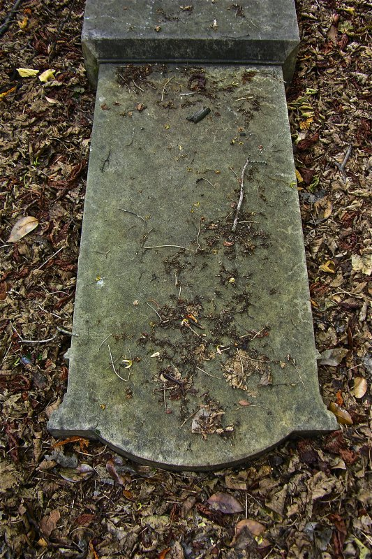 View of fallen gravestone, Newington Cemetery, Edinburgh.