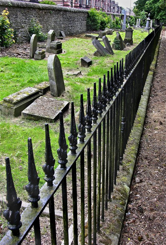 View of fencing which encloses Jewish section of Newington Cemetery, Edinburgh.