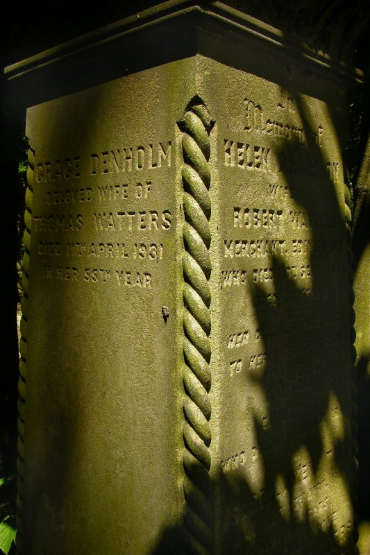Detail of gravestone in memory of Grace Denholm and Helen Anderson, Newington Cemetery, Edinburgh.