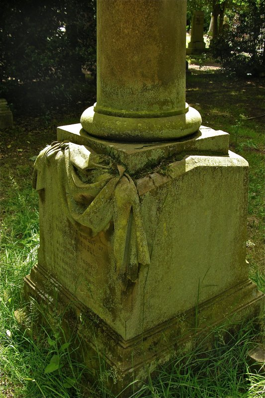 Detail of column base from gravestone, Newington Cemetery, Edinburgh.