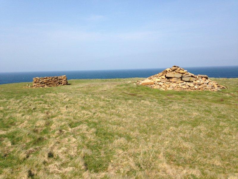 View of modern cairn and enclosure.