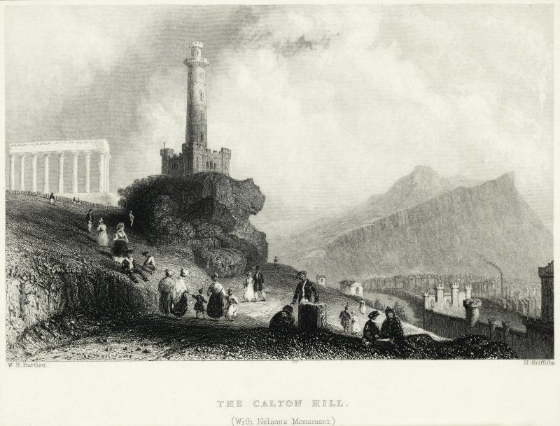 Engraving showing view of Calton Hill, Edinburgh, towards Salisbury Crags. Titled: 'THE CALTON HILL (With Nelson's Monument)'. Inscribed: 'W H Bartlett, H Griffiths'.