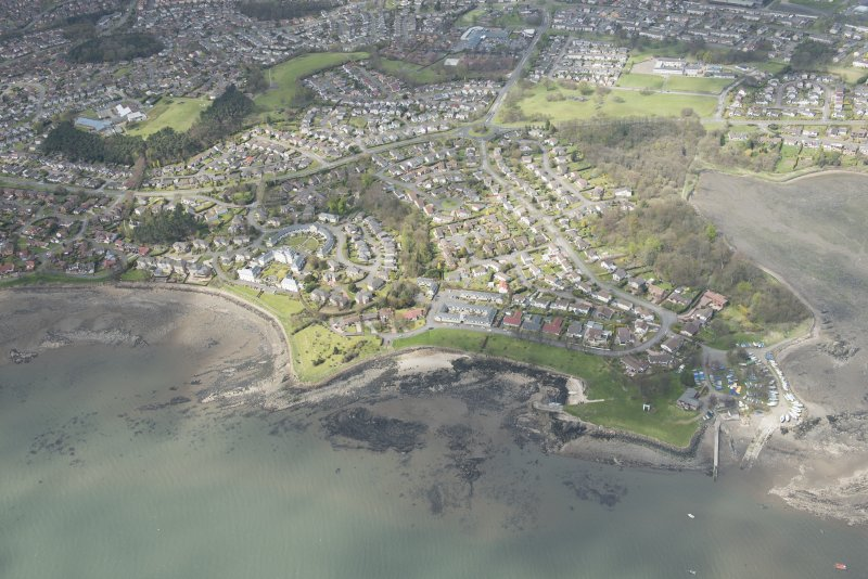 Oblique aerial view of Dalgety Bay Old harbour, looking to the WSW.
