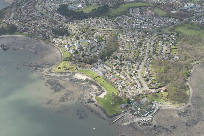 Oblique aerial view of Dalgety Bay Old harbour, taken from the NE.