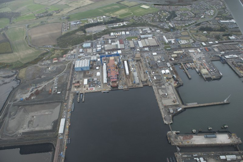 General oblique aerial view of Rosyth Dockyard centred on the Goliath Crane, looking to the NNE.