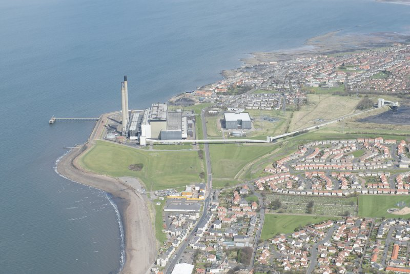 General oblique aerial view of Cockenzie Power Station, looking to the NE.