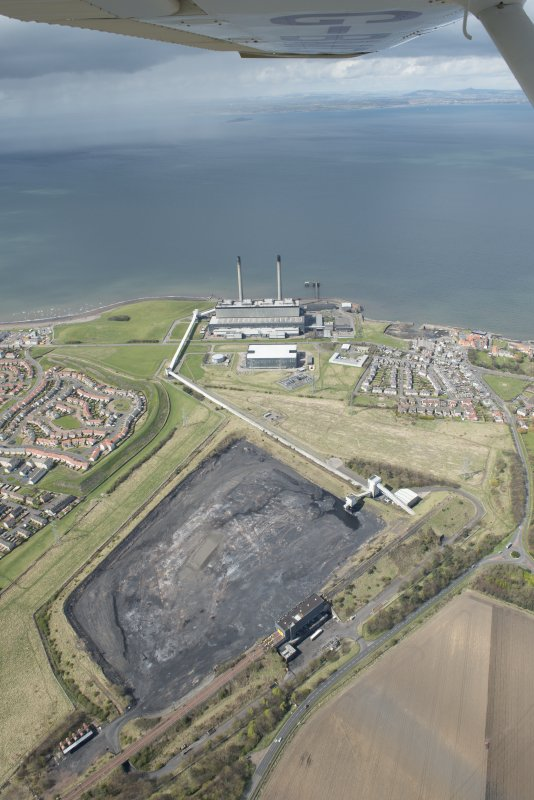 Oblique aerial view of Cockenzie Power Station, looking to the WNW.