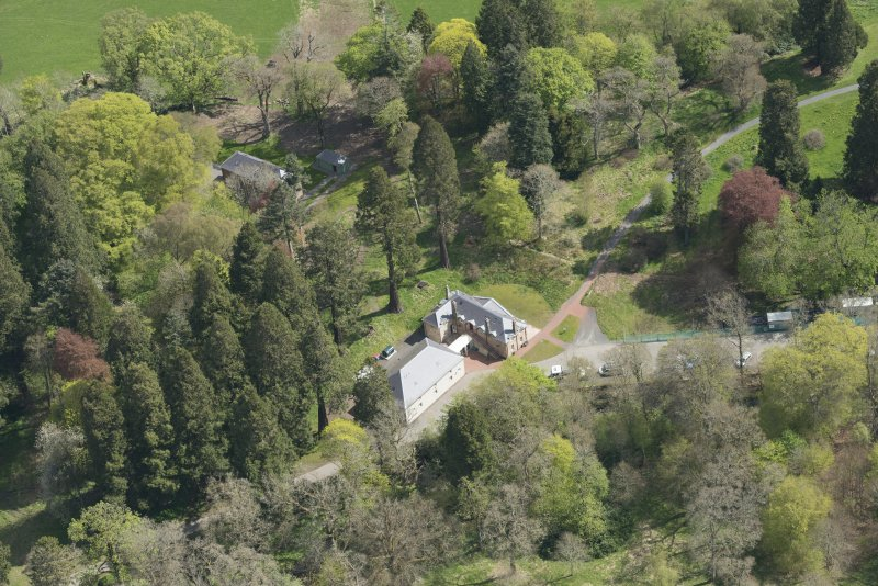Oblique aerial view of Dumfries House Stables, looking to the E.