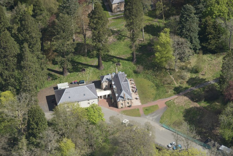 Oblique aerial view of Dumfries House Stables, looking to the NNE.