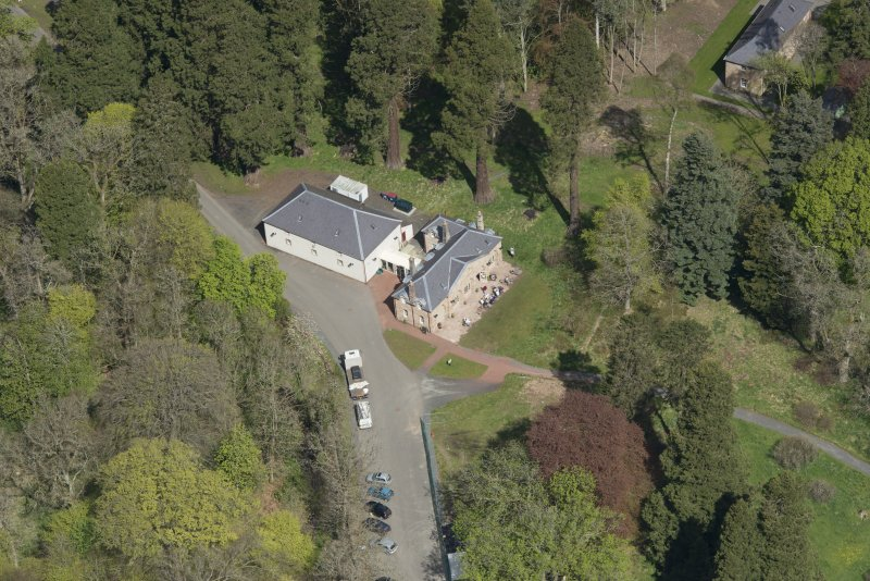 Oblique aerial view of Dumfries House Stables, looking to the NW.