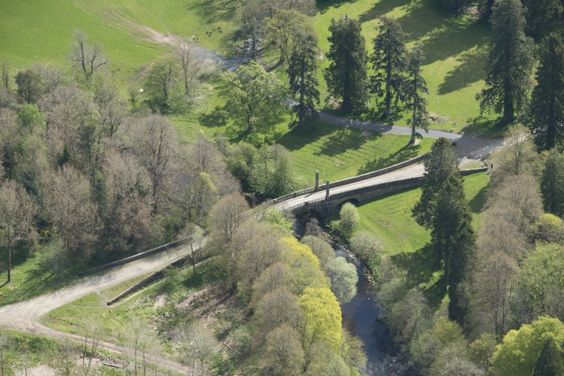 Oblique aerial view of Dumfries House Avenue Bridge, looking to the E.