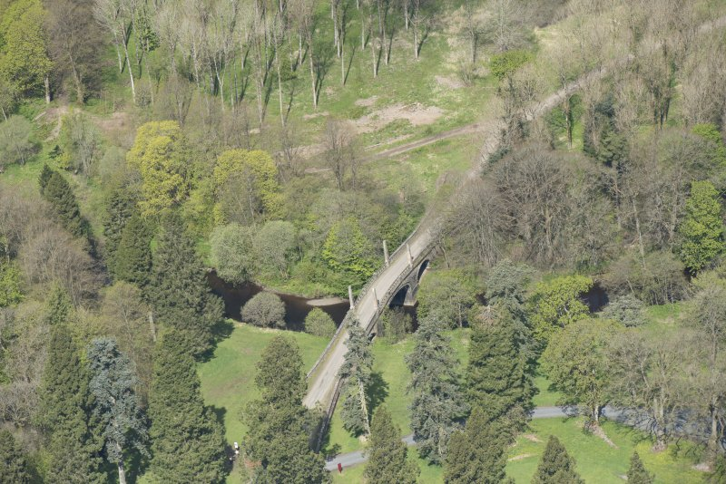 Oblique aerial view of Dumfries House Avenue Bridge, looking to the NW.