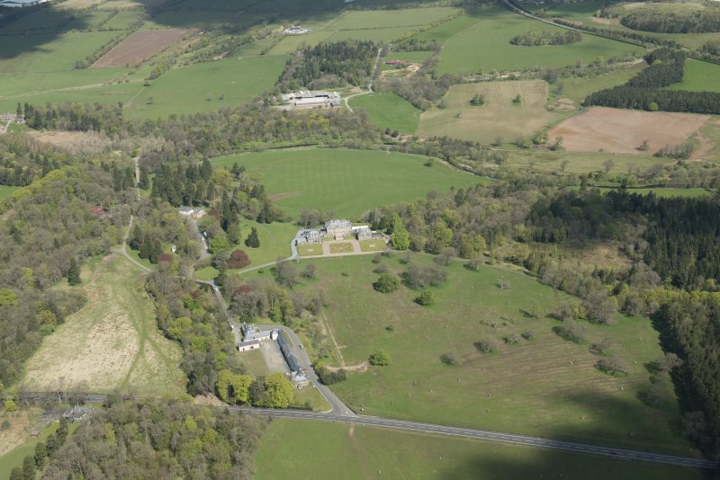 General oblique aerial view of Dumfries House Estate centred on Dumfries House, looking to the N.