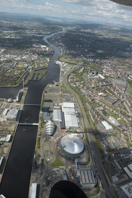General oblique aerial view of the River Clyde centred on The Hydro, looking to the W.