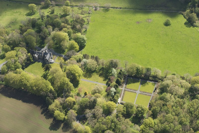 General oblique aerial view of Arnage Castle, looking to the E.