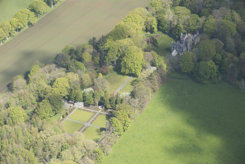 Oblique aerial view of Arnage Castle, looking to the NNW.