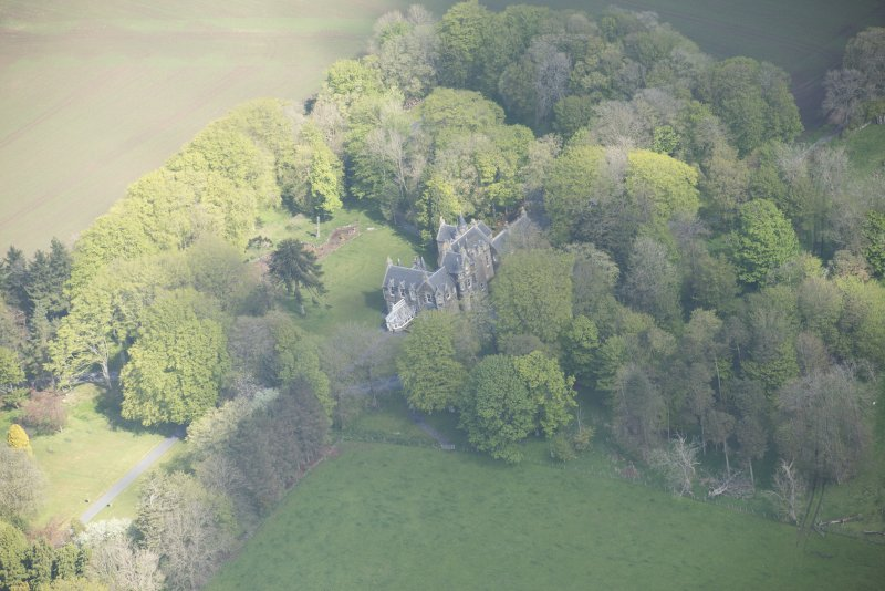 Oblique aerial view of Arnage Castle, looking to the NW.