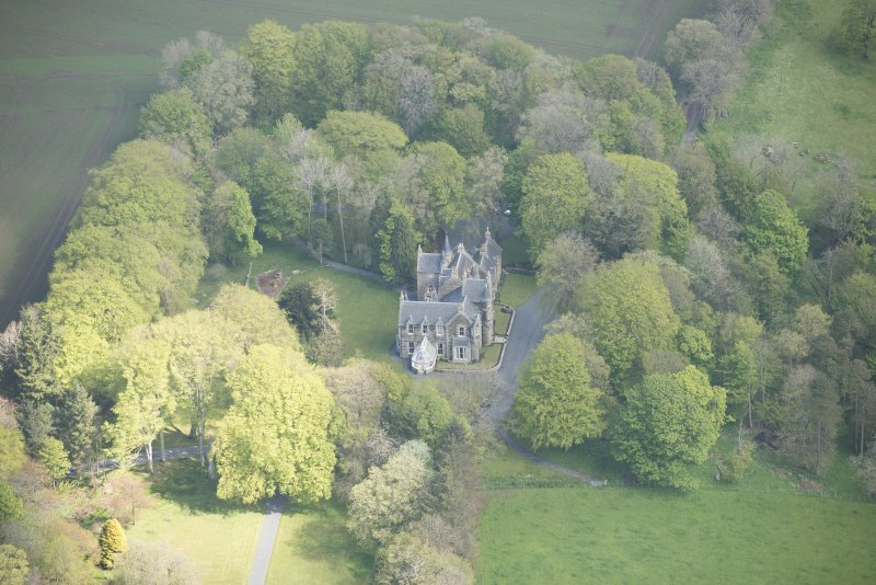 Oblique aerial view of Arnage Castle, looking to the NNE.